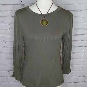 OLIVE RIBBED KNIT TOP WITH SMOCKED CUFFS